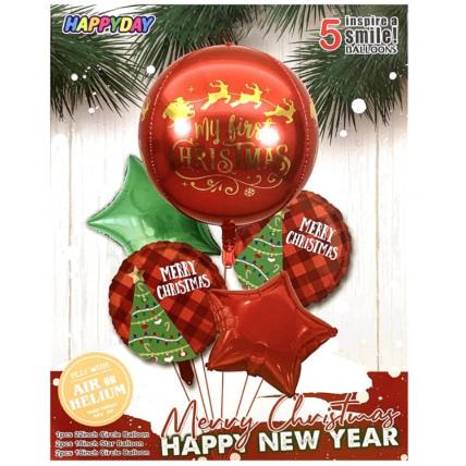 4D Christmas Balloon Set Red: