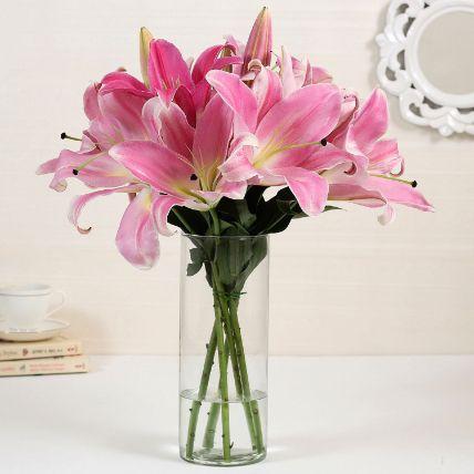 5 Pink Oriental Lilies in Glass Vase: Lilies Flowers