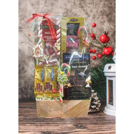 Assorted Ghirardelli Christmas Basket: