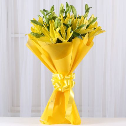 Bright Yellow Asiatic Lilies: Lilies Flowers
