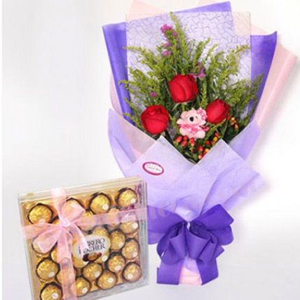 Cute Small Teddy With Roses And Chocolates: Flowers With Chocolates