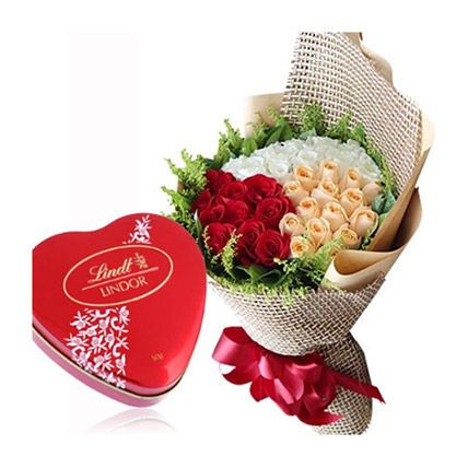 Heart Chocolate Box With Rose Bouquet: Flowers And Chocolates