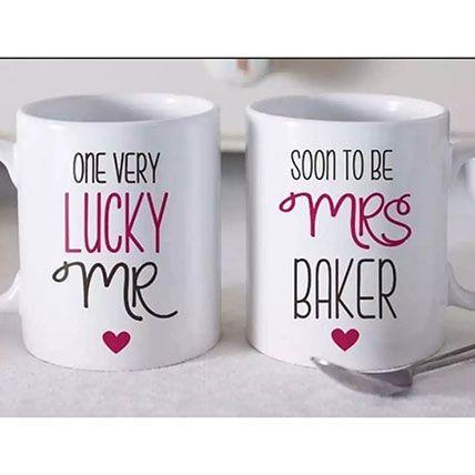 Set Of 2 Beautiful Personalized Mugs: Personalised Anniversary Gifts