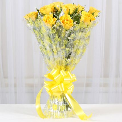 Bright Yellow Roses 10 Bouquet