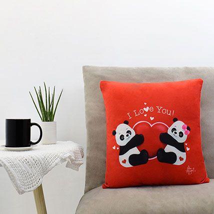 Couple Panda Saying I Love You Red Pillow