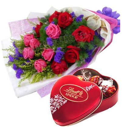 Lovely Heart Chocolate Box With Roses