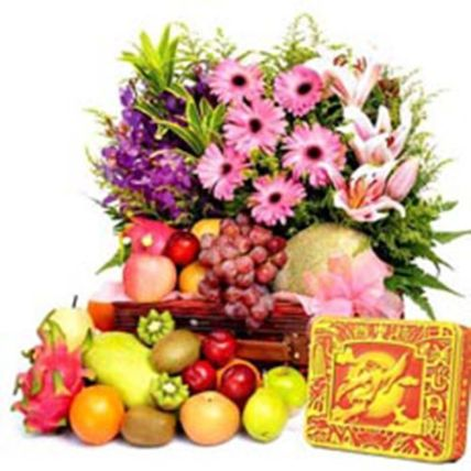 New Year Special Fruits And Floral Bouquet