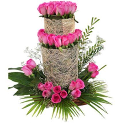 Pink Rose Tower Arrangement