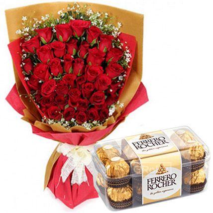 Romantic Chocolates And Rose Bouquet